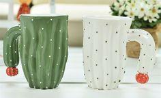 3D Love Couple Cactus Mug Desert Plants Office Coffee Cup Tea Milk Hand Painted