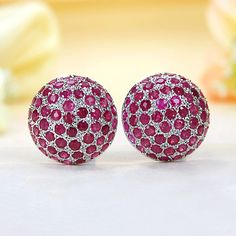 Sterling Silver Ruby Stud Earrings, my birthstone<333