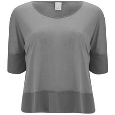 Vero Moda Women's Lyn T-Shirt - Pewter ($21) ❤ liked on Polyvore featuring tops, t-shirts, grey, loose fit t shirts, loose tops, three quarter sleeve tops, loose fitting tops and 3/4 sleeve tops
