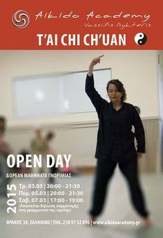 YperNoisis Το Aikido Academy στα πλαίσια γνωριμίας σας με την τέχνη του Tai Chi Chouan και σε συνεργασία με την εκπαιδεύτρια Δήμητρα Ζήρου, διοργανώνει Open Day μαθήματα στη Σχολή μας και σας προσκαλεί!!!