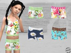 4 cute, new bikinis for the girls.  Found in TSR Category 'Sims 4 Sets'