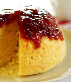 banana desserts recipes, white chocolate dessert recipes, xmas dessert recipes - Classic simple steamed sponge pudding with a jam topping. This is the steamed sponge from which all other recipes are derived. Sponge Pudding Recipe, Steamed Pudding Recipe, Steamed Cake, Pudding Cake, Pudding Recipes, Microwave Steamed Pudding, Steamed Food, Just Desserts, Delicious Desserts
