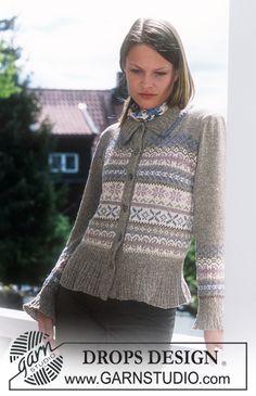 DROPS kofta med puffärmar och nordisk stjärnmönster i «Silke-Tweed» och «Camelia». ~ DROPS Design