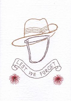 Anzac slouch hat - lest we forget , stitched poppies