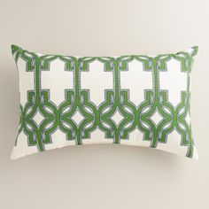 Made of high-performance fabric for lasting outdoor use, our lumbar throw pillow features our exclusive trellis design in green. www.worldmarket.com #CelebrateOutdoors