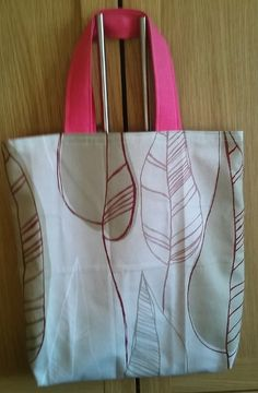 SHOPPING TOTE beige red leaf pink bright by HandmadeVintageRose