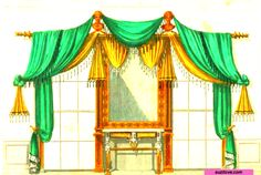 Drapery For Dressing Room. From: 1793  Cabinet Maker's and Upholsterer's Drawing Book By Thomas Sheraton. via google Books (PD-200)   suzilove.com