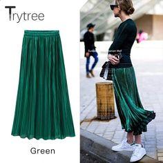 8bdd7bd909 Trytree Falda plisada de oro de las mujeres Falda de cintura alta vintage  de las mujeres