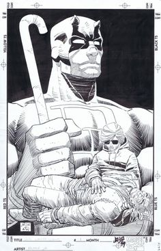 daredevil : man without fear #1 original cover by john romita jr and al williamson Comic Art