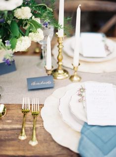 gold + blue table setting