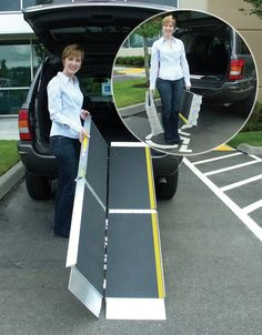 "If you keep a portable ramp around, it means that anyone can come into the house over stairs, or get into an vehicle- creating a ""visitable"" home means everyone is welcome! More at: The Basics of the Visitable Home trifold ramp 798x1024"