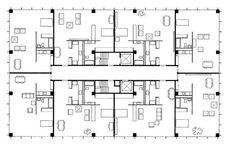 Lake Shore Drive, a typical floor plan, Chicago, Ludwig Mies Van Der Rohe, Apartment Plans, Revit, Beautiful Buildings, Landscape Architecture, Building Design, Lake Shore, Displays, Floor Plans