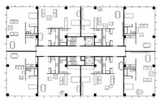 Mies van der Rohe; Lake Shore Drive, a typical floor plan, Chicago, 1948-51