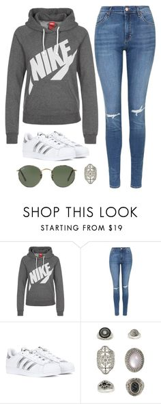 """Untitled #14420"" by beatrizibelo ❤ liked on Polyvore featuring NIKE, Topshop, adidas and Ray-Ban"