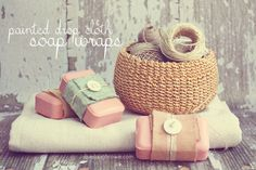 DIY Painted Drop Cloth Soap Wraps -Great for gifts!