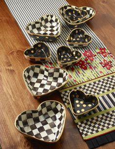 "We ""heart"" MacKenzie-Childs' Courtly Check Heart Bowls! Be My Valentine, Valentine Gifts, Mackenzie Childs Inspired, Mckenzie And Childs, Creative Home, Vintage Home Decor, Home Decor Accessories, Home Remodeling, Decoupage"