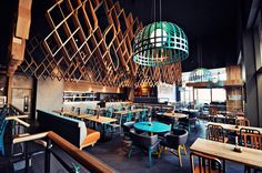 The Nando restaurant is situated in Ashford. Ashford is a place south east of London. The restaurant is very colorful and joyful. Nando's Restaurant, Restaurant Design, Rustic Restaurant, Rustic Chair, Rustic Wall Decor, Bedroom Rustic, Rustic Nursery, Rustic Theme, Rustic Signs