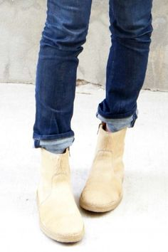 Great cuff trick with ankle boots- it's always tough to get this balance right, and I like the kind of hasty but stylish sense here. Sock Shoes, Shoe Boots, Ankle Boots, Shoe Bag, Looks Style, Style Me, Over Boots, Vogue, Me Too Shoes