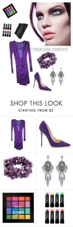 """""""The juicy plum!"""" by hottgirlyella ❤ liked on Polyvore featuring Emilio Pucci, Jimmy Choo, Accessorize and NYX"""