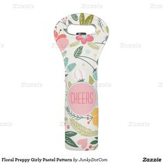 Floral Preppy Girly Pastel Pattern Wine Bag @zazzle front page April 11
