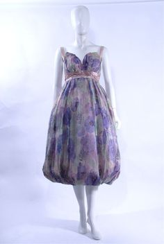 FC0512 Dress, cocktail, print silk chiffon and silk satin, by Yaga, (New York) c. 1958