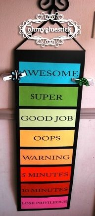 Going to make one for home! Behavior Chart: Begin at Good Job every day. The clips are moved up and down based on certain requirements. If a child is on any green space at the end of the day they get 5 pom poms in their jar. When the jar is full the child gets their pre-chosen reward (treat, prize, night out with mom or dad, etc.).
