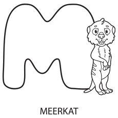 Alphabet Letter M for Meerkat Coloring Page