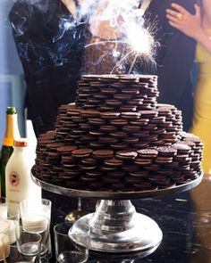Cookies and milk for a major celebration? Sure, and they made it look so fabulous. Wonder how long it took to stack those babies.