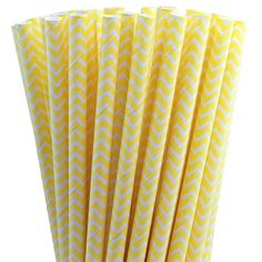 25 Yellow Chevron Paper Straws-7.75 Inches-Party Straws-Shower-Wedding-Party-Biodegradable on Etsy, $3.79