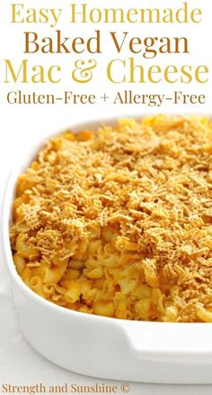 This easy homemade Baked Vegan Mac & Cheese is a gluten-free & allergy-free recipe that will blow your mind! An ultra-creamy, healthy, dairy-free remix! Allergy Free Recipes, Vegetarian Recipes, Cooking Recipes, Healthy Recipes, Pasta Recipes, Casserole Recipes, Healthy Snacks, Vegan Mac And Cheese, Mac Cheese