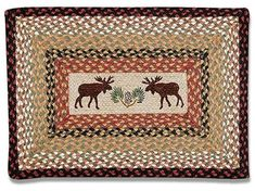 Moose Braided Rug, Rectangle for sale online Rustic Cabin Decor, Rustic Rugs, Country Decor, Moose Decor, Bear Decor, Moose Lodge, Natural Wood Furniture, Log Cabin Designs, Quilts