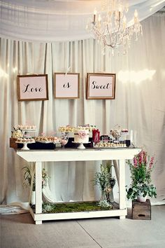Love is sweet indeed - love the small garden display below the table #wedding #weddingdessert #desserttable #diywedding #gardenparty