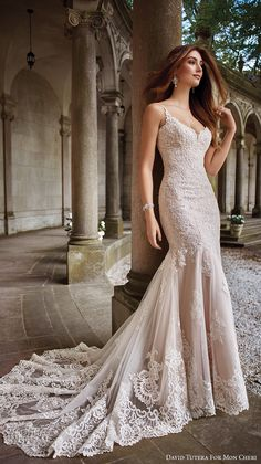 Mermaid Wedding Dresses Blush Wedding Dress by David Tutera for Mon Cheri Spring 2017 - Elegant form-fitted beaded lace wedding dress with hand-beaded spaghetti straps, embroidered lace overskirt, scalloped hem, and chapel length train. Spring 2017 Wedding Dresses, Dream Wedding Dresses, Bridal Dresses, Blush Lace Wedding Dress, David Bridal Wedding Dresses, Gown Wedding, Spagetti Strap Wedding Dress, Blush Pink Prom Dresses, Blush Gown