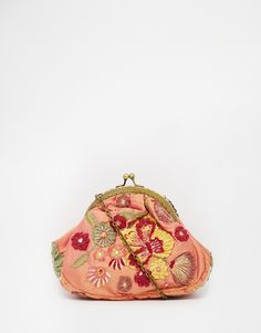 Moyna Clutch with Vintage Style Clip Top and Embroidered Floral Applique