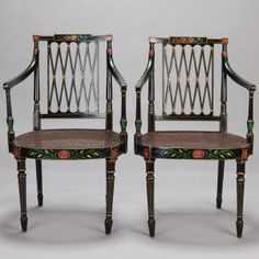 "Set of 6 Swedish Ebonised and Painted Caned Arm Chairs --- Set of six circa 1830s Swedish arm chairs with ebonised and painted frames. Seat backs have open work diamond pattern, arms with turned supports, round, caned seat bottoms and turned legs. Sold and priced as a set of six. ---  Arm Height:  26.5"" ---  Seat Height:  16.75"" ---  Seat Depth:  16.5"" ---  Item: 5404 --- Retail Price:  $5695"