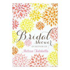 Modern Elegant Floral Watercolor Bridal Shower Announcement