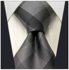 "Gray Check / Stripe Design nto28y 3.5"" 100% Silk Jacquard Woven Men's Tie  #NeckTie"