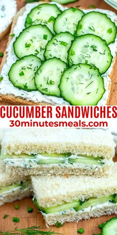 Cucumber Sandwiches are also known as Tea Sandwiches, have been around for quite some time now. #sandwiches #lunch #cucumber #snack Best Sandwich Recipes, Best Appetizer Recipes, Best Appetizers, Lunch Recipes, Dinner Recipes, Picnic Recipes, Wrap Recipes, Summer Recipes, Easy Recipes