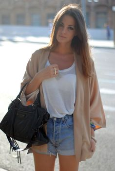 slouchy sweater with denim shorts