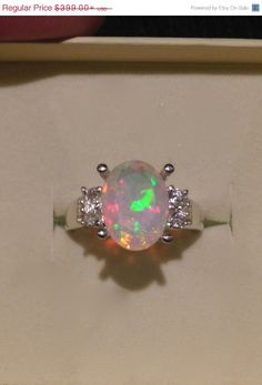Stunning Ethiopian Opal Ring with Genuine White by OpalEmbers, $359.10