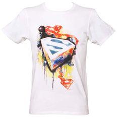 Keving tattoo idea .Men's Superman Graffiti Logo White T-Shirt From Urban Species : TruffleShuffle.com