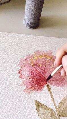 Watercolor Beginner, Watercolor Art Lessons, Watercolor Paintings For Beginners, Watercolor Techniques, Watercolor Flowers Tutorial, Floral Watercolor, Watercolor Pencil Art, Diy Canvas Art, Watercolors