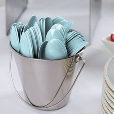 "Creative Converting 010607B 6 1/8"" Pastel Blue Heavy Weight Plastic Spoon - 600 / Case"