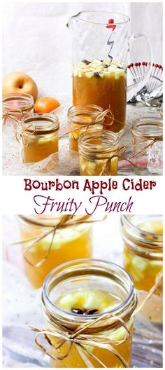 Bourbon Apple Cider Fruit Punch - so easy to make, perfect for Game Day or holiday entertaining
