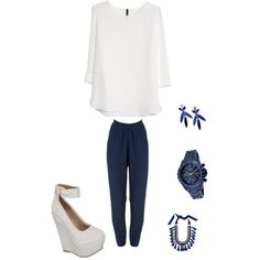 A fashion look from November 2014 featuring MANGO blouses, a_line watches and Oscar de la Renta earrings. Browse and shop related looks.