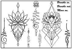 Small Unalome Temporary Sternum Tattoo Set and MyBodiArt.com
