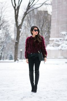 Top :: Topshop sweater, Elizabeth & James top  Bottom :: Forever 21  Bag :: Rebecca Minkoff  Shoes :: Gianvito Rossi   Accessories :: Karen Walker sunglasses, BaubleBar cuff.