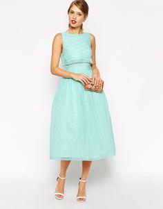 ASOS Lace Crop Top Midi Prom Dress