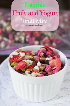 Trail mix is the perfect snack for school lunches or #afterschoolsnack And this one is our favorite with yogurt bites, fruit and chocolate! ohsweetbasil.com