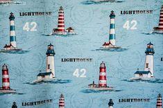 A #nautical #ocean #lighthouse #fabric.